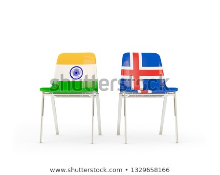 Two chairs with flags of India and iceland Stock photo © MikhailMishchenko