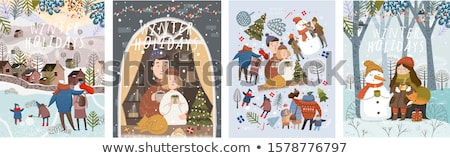 children christmas winter vacations holidays set stock photo © robuart