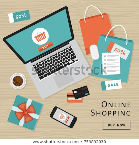 Online shopping concept. Online store objects and banner. Table with laptop, shopping bags, credit c Stock photo © makyzz