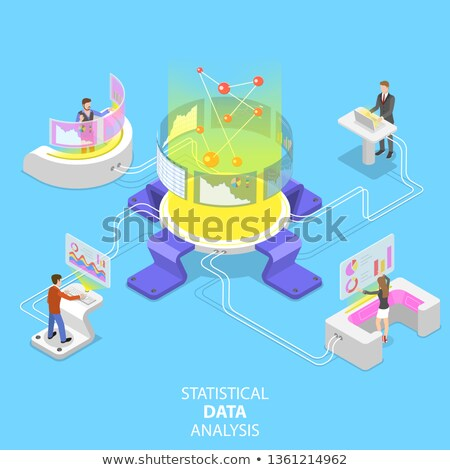 Flat isometric vector concept of statictical data analysis and analytics. Stock photo © TarikVision