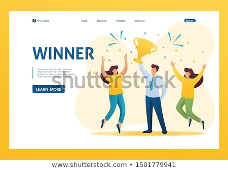 Man Holding Gold Cup Award, Businessman with Prize Foto stock © robuart