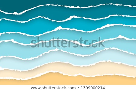 Stock photo: Blue sea and beach summer background. Torn paper stripes. Ripped squared horizontal paper strips. To