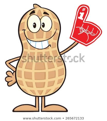 Sorridente amendoim espuma dedo Foto stock © hittoon