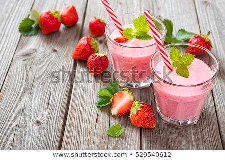 two glasses of strawberry shake stock photo © alex9500