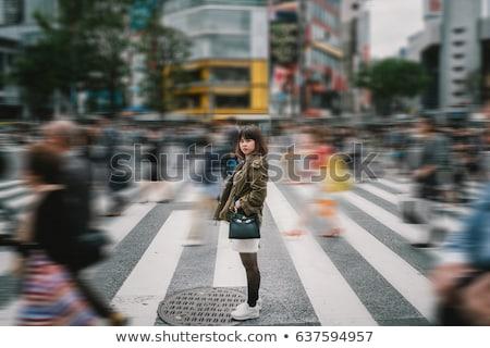 Dziewczyna przejście dla pieszych ilustracja uśmiech szczęśliwy świetle Zdjęcia stock © colematt