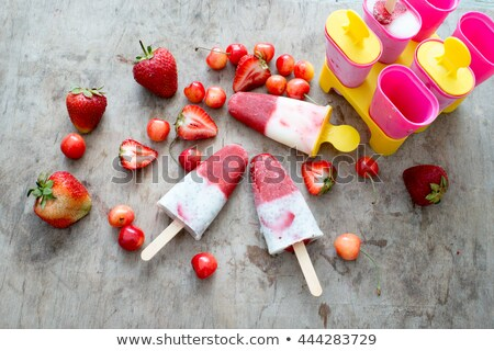 homemade cherry ice cream popsicle with yogurt stock photo © melnyk