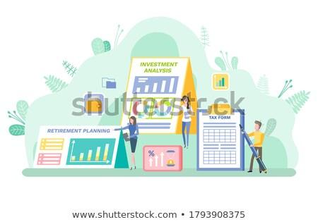 Investitionen Analyse Frau Zwischenablage info Vektor Stock foto © robuart