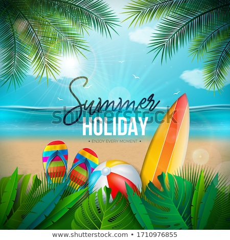 Vector Summer Illustration With Beach Ball Palm Leaves Surf Board And 3d Typography Letter On Unde Stok fotoğraf © articular