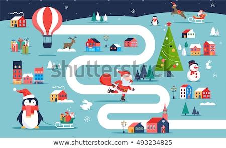 Karácsony falu térkép tél város társasjáték Stock fotó © marish