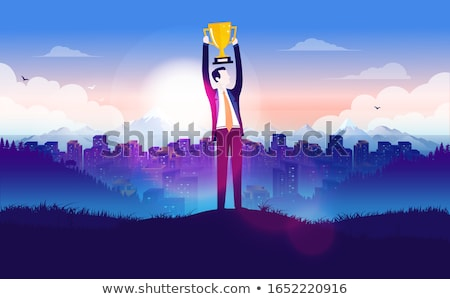 Businessman on the top of a city achieving his goal Stock photo © ra2studio