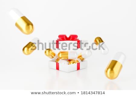 Nyitva fehér ajándék doboz kapszula izolált 3d illusztráció Stock fotó © ISerg