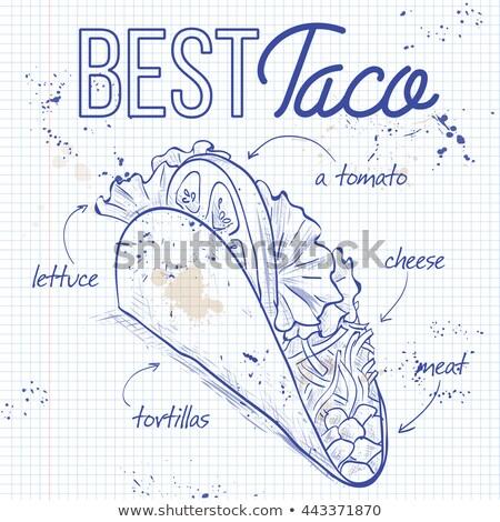 Tacos defter sayfa Meksika kroki Stok fotoğraf © netkov1
