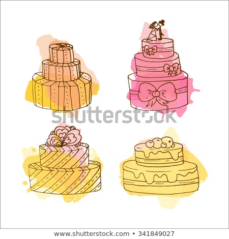 Color Creamy Berry Cake Sweet Dessert Vintage Vector Stock photo © pikepicture