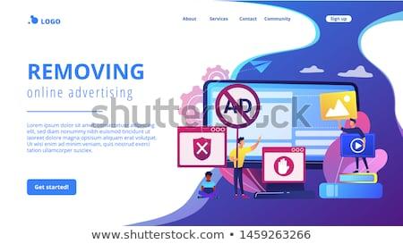 Ogłoszenie oprogramowania lądowanie strona rozwój Zdjęcia stock © RAStudio