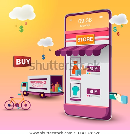 ベクトル 携帯 オンラインショッピング アプリ スマートフォン を ストックフォト © tele52