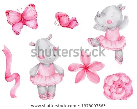 Hipopótamo fita arte estilo ilustração Foto stock © patrimonio