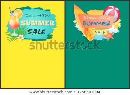 Summer Sale Web Posters Cocktail and Surfboard Stock photo © robuart