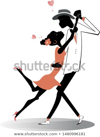 Romantic dancing young African couple isolated illustration  Stock photo © tiKkraf69