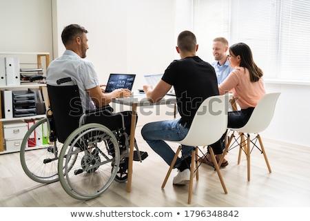 инвалидов бизнесмен заседание вид сзади месте бизнеса Сток-фото © AndreyPopov