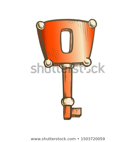 Key Antique Access Device Ink Color Hand Drawn Vector Stock photo © pikepicture