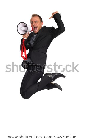 Enthusiastic businessman shouting with megaphone. Stock photo © lichtmeister