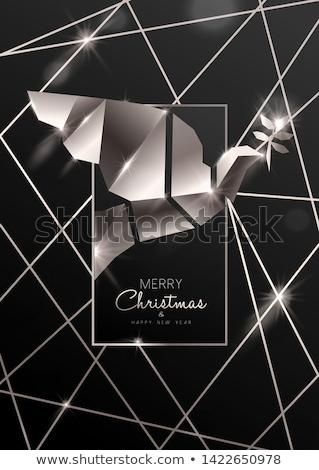 Karácsony új év kártya 3D art deco galamb Stock fotó © cienpies