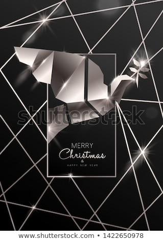 Christmas and New Year card of 3d art deco dove Stock photo © cienpies
