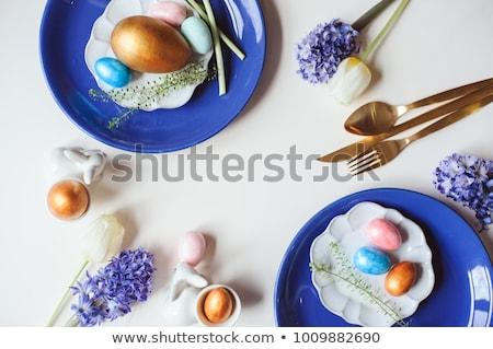 Easter egg platen bestek tulp bloemen Pasen Stockfoto © dolgachov
