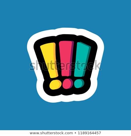 Elegancki kolorowy cartoon naklejki wykrzyknik działalności Zdjęcia stock © barsrsind
