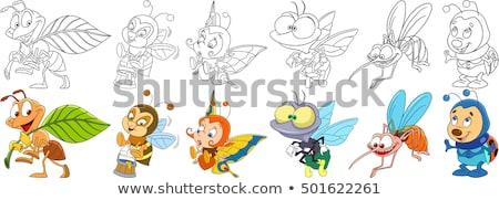 Karikatur Insekten Zeichen Ausmalbuch Seite schwarz weiß Stock foto © izakowski