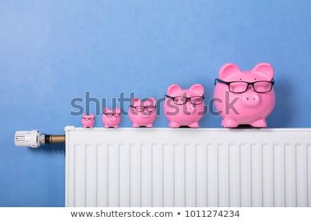貯金 眼鏡 ラジエーター サーモスタット 白 壁 ストックフォト © AndreyPopov