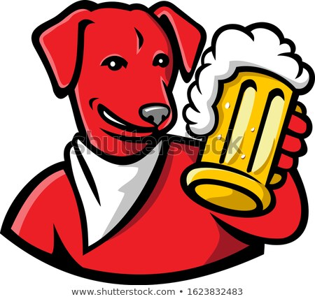 Red English Lab Dog Beer Mug Mascot Stock photo © patrimonio