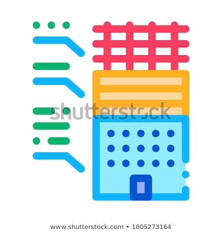 Elemzés alkatrészek lakóövezeti épület ikon vektor Stock fotó © pikepicture