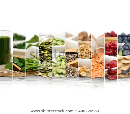 Natural food ingredients and healthy eating concept. Dry raw chickpeas on dark background. Protein f Stock photo © vkstudio