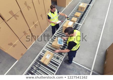 Logistyka firmy pracowników towary pola wysyłki Zdjęcia stock © robuart