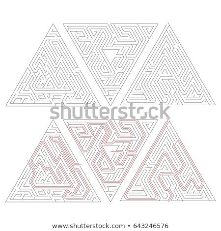 üç karmaşık üçgen kırmızı yol çözüm Stok fotoğraf © evgeny89