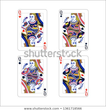 Set of queen playing card with different suits like diamonds, clubs, hearts and spades isolated on w Stock photo © evgeny89