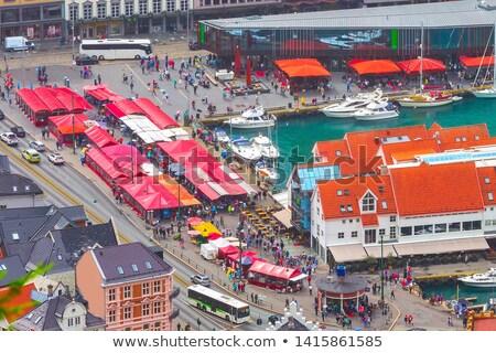 street market in bergen norway stock photo © phbcz