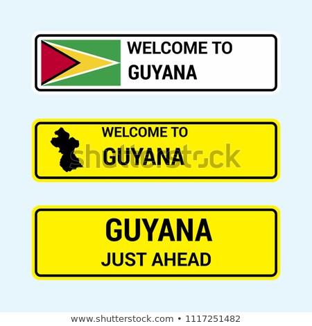 Сток-фото: Гайана · шоссе · знак · зеленый · облаке · улице · знак