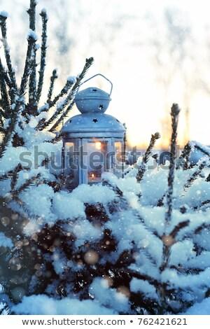 Csodálatos karácsony csendélet fekete háttér kék Stock fotó © lypnyk2