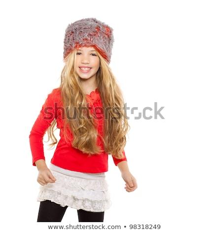 criança · menina · inverno · dança · vermelho · camisas - foto stock © lunamarina