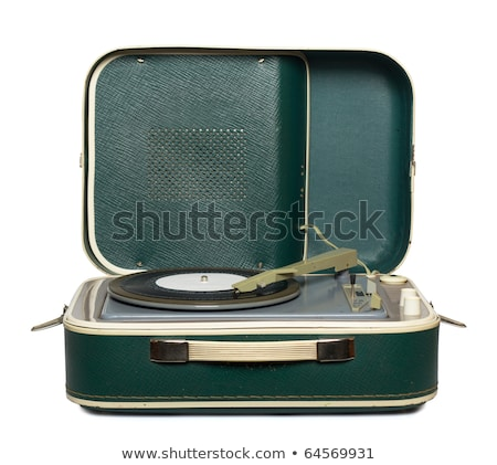 Retro portable turntable isolated and vinyl Stock photo © ozaiachin