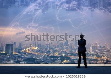 Geschäftsmann Vision Himmel Mann glücklich Bereich Stock foto © photography33