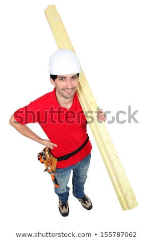 high angle shot portrait of craftsman carrying lumber Stock photo © photography33