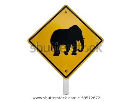 elephant crossing road sign in thailand stock photo © travelphotography
