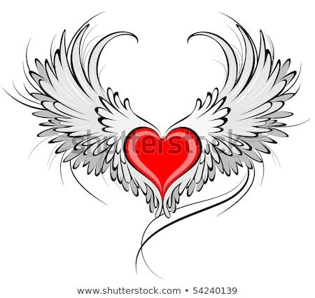 Piros szív angyalszárnyak számítógép szeretet toll Stock fotó © dagadu