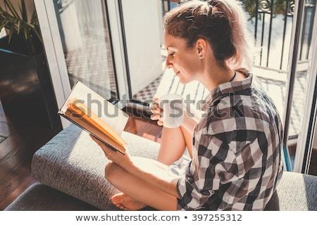aranyos · nő · olvas · könyv · nappali · mosoly - stock fotó © wavebreak_media