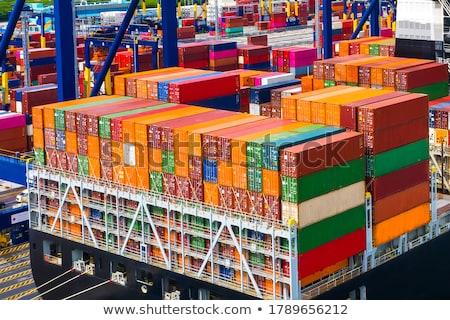 Vracht haven technologie veiligheid Blauw boot Stockfoto © Alenmax