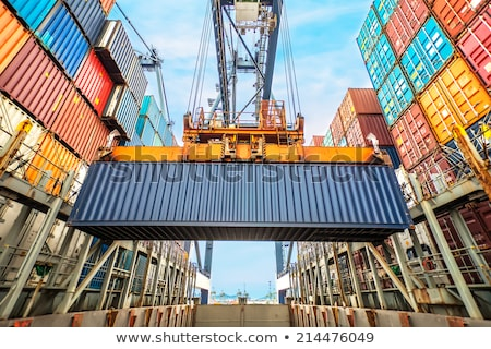 port warehouse with containers and industrial cargoes stock photo © cozyta