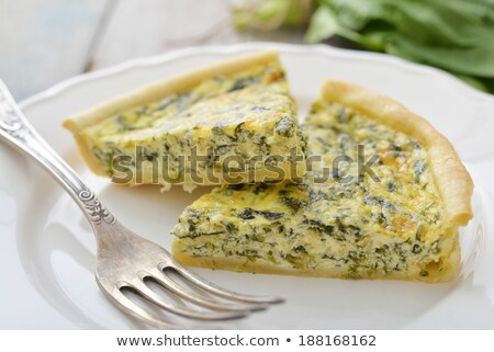 slice of spinach quiche stock photo © m-studio
